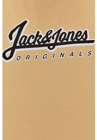 Jack & Jones - T-shirt. Okazja: na co dzień. Kolor: żółty. Wzór: nadruk. Styl: casual