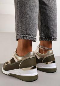 Renee - Oliwkowe Sneakersy Elgar. Kolor: zielony