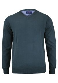 Szary sweter Adriano Guinari z dekoltem w serek, biznesowy, do pracy