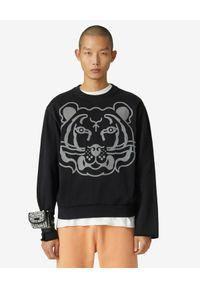 Kenzo - KENZO - Czarna bluza K-Tiger. Kolor: czarny. Materiał: bawełna. Długość rękawa: długi rękaw. Długość: długie. Wzór: aplikacja, nadruk