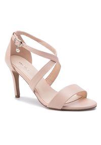Różowe sandały Wojas eleganckie, na obcasie, na średnim obcasie