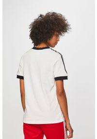 Biała bluzka adidas Originals casualowa, z okrągłym kołnierzem