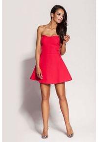 Dursi - Malinowa Mini Sukienka z Odkrytymi Ramionami. Kolor: różowy. Materiał: elastan, nylon, bawełna. Typ sukienki: z odkrytymi ramionami. Długość: mini
