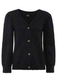 Sweter rozpinany z rękawami balonowymi bonprix czarny. Kolor: czarny