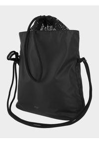 4f - Torba plażowa. Kolor: czarny. Wzór: gładki. Rodzaj torebki: na ramię