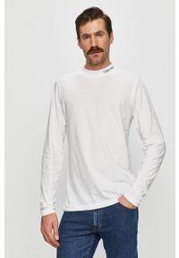 Biała koszulka z długim rękawem Calvin Klein casualowa, na co dzień
