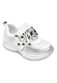 Białe buty sportowe FOREVERFOLIE w kolorowe wzory, trekkingowe, z paskami