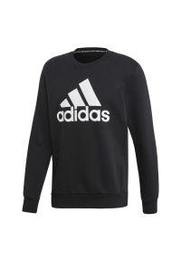Czarna bluza Adidas sportowa, z okrągłym kołnierzem, z długim rękawem, długa