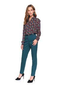 TOP SECRET - Spodnie długie damskie cygaretki. Kolor: turkusowy. Materiał: tkanina. Długość: długie. Sezon: wiosna. Styl: wizytowy, elegancki, klasyczny