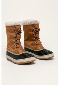 sorel - Sorel - Śniegowce. Nosek buta: okrągły. Zapięcie: sznurówki. Kolor: brązowy. Materiał: guma. Szerokość cholewki: normalna