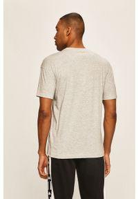Szary t-shirt Kappa casualowy, z aplikacjami, na co dzień