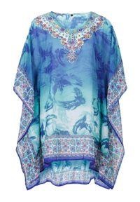 Niebieska tunika bonprix długa, na plażę, z dekoltem w serek