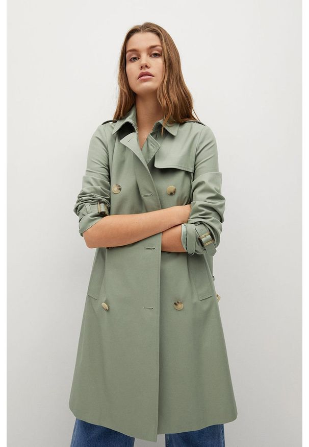 Zielony płaszcz mango na co dzień, casualowy, bez kaptura, gładki