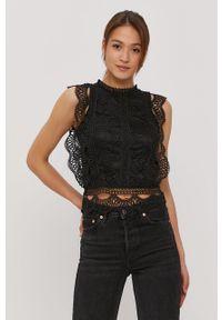 Czarna bluzka Haily's bez rękawów, w koronkowe wzory, elegancka