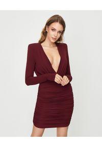 ALEXANDRE VAUTHIER - Bordowa sukienka mini. Kolor: czerwony. Materiał: materiał. Długość rękawa: długi rękaw. Typ sukienki: dopasowane. Styl: klasyczny. Długość: mini
