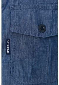 G-Star RAW - G-Star Raw - Koszula bawełniana. Okazja: na co dzień. Kolor: niebieski. Materiał: bawełna. Długość rękawa: krótki rękaw. Długość: krótkie. Wzór: gładki. Styl: casual