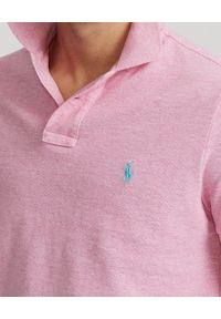 Ralph Lauren - RALPH LAUREN - Różowa koszulka polo Custom Slim Fit Mesh. Typ kołnierza: polo. Kolor: wielokolorowy, fioletowy, różowy. Materiał: mesh. Wzór: haft
