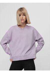 4f - Bluza damska. Okazja: na co dzień. Kolor: fioletowy. Materiał: bawełna, dzianina. Długość: krótkie. Styl: casual