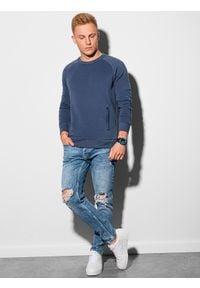 Ombre Clothing - Bluza męska bez kaptura B1156 - ciemnoniebieska - XXL. Typ kołnierza: bez kaptura. Kolor: niebieski. Materiał: dresówka, bawełna, jeans, dzianina, poliester
