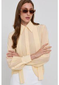 Victoria Victoria Beckham - Koszula. Okazja: na co dzień. Kolor: żółty. Materiał: tkanina. Długość rękawa: długi rękaw. Długość: długie. Wzór: gładki. Styl: casual