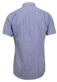 Niebieska elegancka koszula Jurel z krótkim rękawem, na spotkanie biznesowe