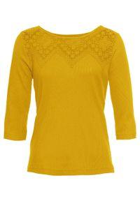 Shirt w prążek z koronką bonprix żółty curry. Kolor: żółty. Materiał: koronka. Wzór: koronka, prążki