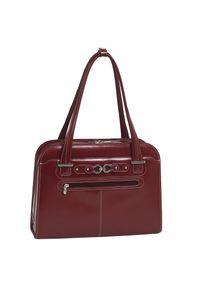 """MCKLEIN - Skórzana torba damska na laptopa 15,4"""" Mcklein Oak Grove czerwona. Kolor: czerwony. Materiał: skórzane. Styl: biznesowy, klasyczny, casual. Rodzaj torebki: na ramię"""