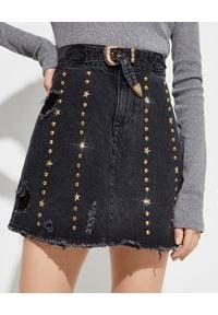 RETROFETE - Krótka jeansowa spódnica. Kolor: czarny. Materiał: jeans. Długość: krótkie. Wzór: aplikacja