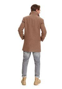 TOP SECRET - Klasyczny płaszcz z kołnierzem z tkaniny z domieszką wełny. Kolor: brązowy. Materiał: tkanina, wełna. Sezon: zima. Styl: klasyczny #2
