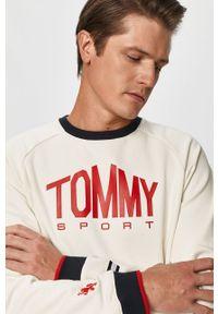 Kremowa bluza nierozpinana Tommy Sport raglanowy rękaw, z nadrukiem, sportowa, z okrągłym kołnierzem