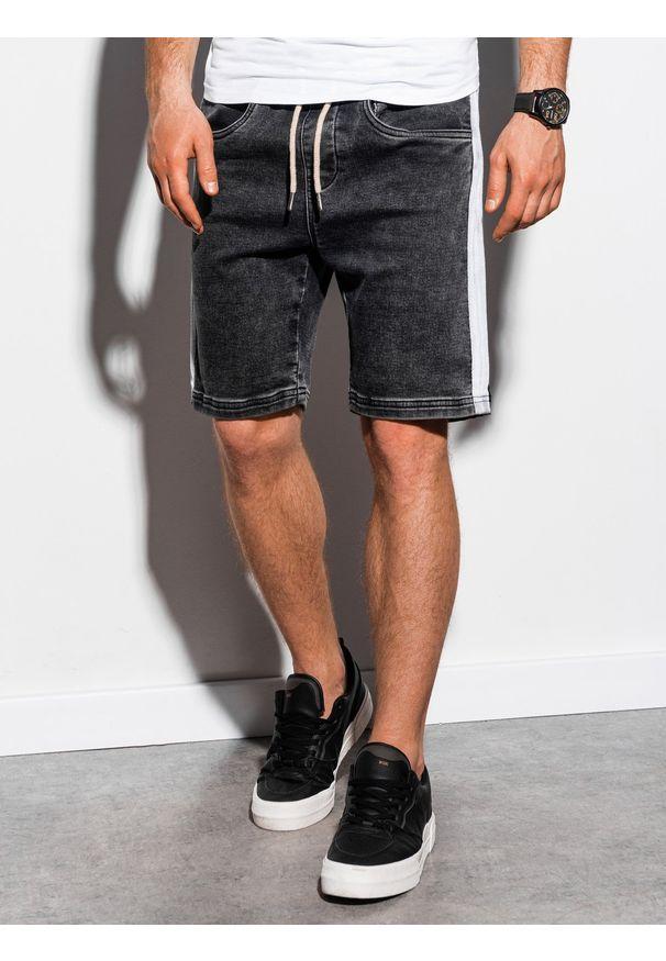 Ombre Clothing - Krótkie spodenki męskie jeansowe W221 - czarne - XXL. Okazja: na co dzień. Kolor: czarny. Materiał: jeans. Długość: krótkie. Wzór: kolorowy, aplikacja. Sezon: lato. Styl: casual, klasyczny