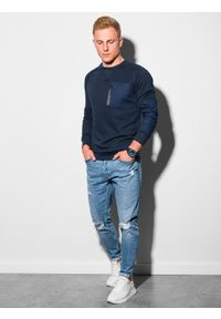 Ombre Clothing - Bluza męska bez kaptura B1151 - granatowa - XXL. Typ kołnierza: bez kaptura. Kolor: niebieski. Materiał: bawełna, jeans, dzianina, materiał, tkanina, poliester