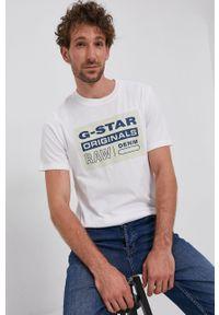 G-Star RAW - G-Star Raw - T-shirt bawełniany. Okazja: na co dzień. Kolor: biały. Materiał: bawełna. Wzór: nadruk. Styl: casual