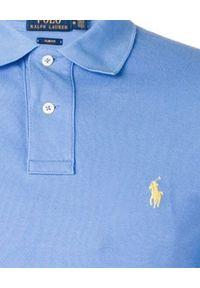 Niebieskie polo z krótkim rękawem Ralph Lauren klasyczne, polo, z haftami