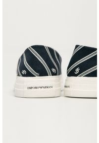 Emporio Armani - Tenisówki. Nosek buta: okrągły. Kolor: niebieski. Materiał: guma