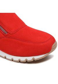 Czerwone półbuty Caprice casualowe, z cholewką, na co dzień