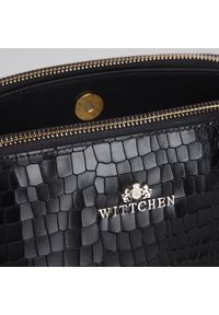 Wittchen - Damska listonoszka ze skóry croco trzykomorowa. Kolor: czarny. Materiał: skórzane. Styl: elegancki