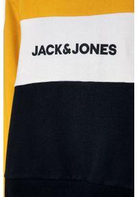 Żółta bluza Jack & Jones z nadrukiem, na co dzień, casualowa, z kapturem
