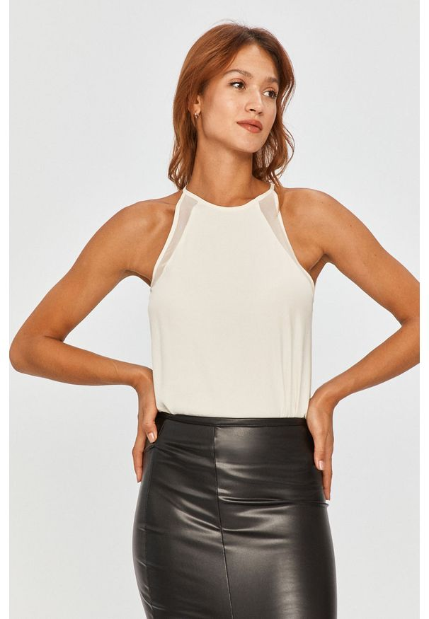 Biała bluzka Answear Lab wakacyjna, na co dzień, na ramiączkach