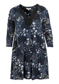 Niebieska tunika Zhenzi elegancka, z dekoltem w serek