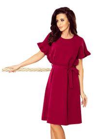 Czerwona sukienka wizytowa Numoco z falbankami