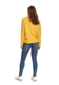 Żółta bluza TOP SECRET na jesień, z długim rękawem, długa, z okrągłym kołnierzem