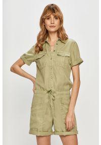 Zielony kombinezon Pepe Jeans na co dzień, z krótkim rękawem, casualowy, krótki