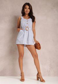 Renee - Biało-Niebieski Kombinezon Nesnath. Kolor: biały. Materiał: bawełna. Długość rękawa: na ramiączkach. Długość: krótkie. Wzór: paski