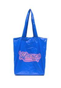 ISABEL MARANT - Niebieska torba z logo Woom. Kolor: niebieski. Wzór: nadruk. Rodzaj torebki: na ramię