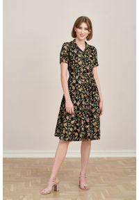Marie Zélie - Sukienka Marina Sonata czarna. Kolor: czarny. Materiał: bawełna, wiskoza, materiał. Sezon: lato. Typ sukienki: szmizjerki