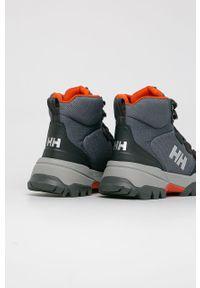 Szare buty trekkingowe Helly Hansen z okrągłym noskiem, z cholewką, na sznurówki