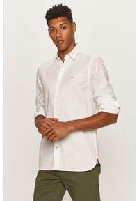 Biała koszula TOMMY HILFIGER elegancka, z klasycznym kołnierzykiem, na co dzień, długa