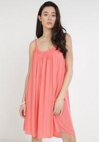 Born2be - Koralowa Sukienka Kaphophis. Kolor: pomarańczowy