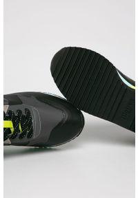 Czarne buty sportowe Blauer na średnim obcasie, na obcasie, na sznurówki